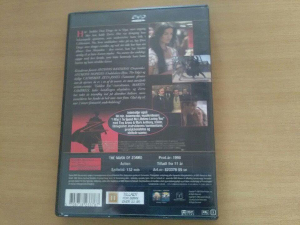 Zorro Den maskerede hævner, DVD, action