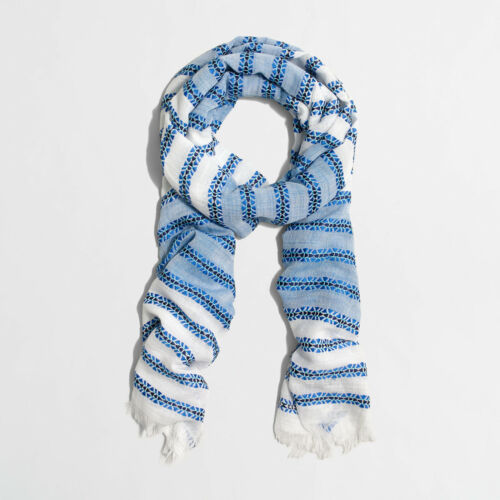 "J. Crew Factory NWT 71"" X 21"" Blue Embroidered Striped Cotton Blend Scarf"