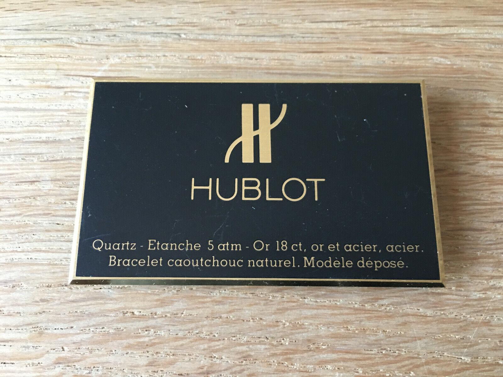 Used Like new - Plaque HUBLOT Placa - - - Metal - 5 x 8 cm - Como nueva 8545ce