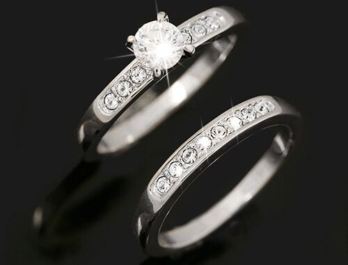 1 Pair Double Ring White Gold 18 K Pl. Crystal Engagement Valentine's Day