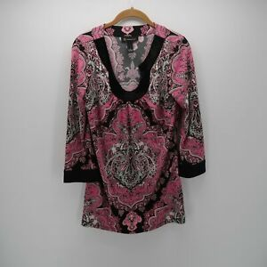 Inc-International-Concepts-Pink-Black-Boho-3-4-Sleeve-Tunic-Blouse-Top-Size-S