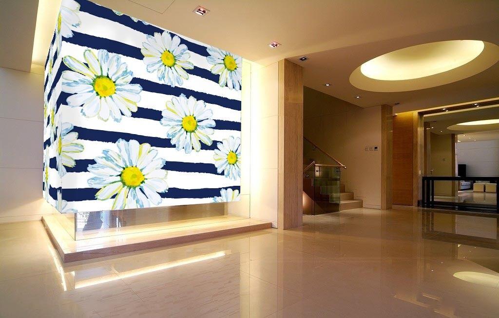 3D Stripeds Daisys 89 Wall Paper Murals Wall Print Wall Wallpaper Mural AU Kyra