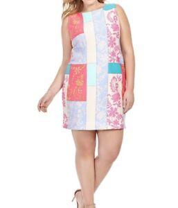 Details about Taylor Dresses Sleeveless Scuba Knit Sheath Plus Size Dress  In Patchwork 16W