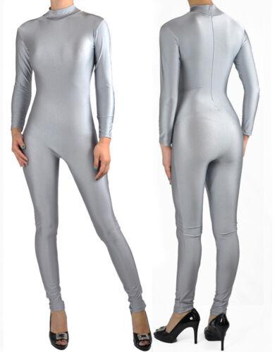Silver Gray Super Hero Spandex Mock Neck Unitard Bodysuit Aerobic Costume