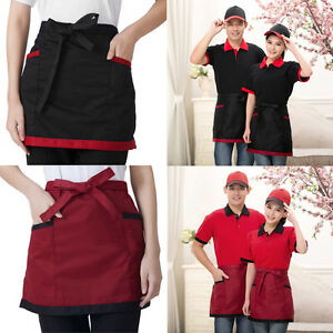 WAITER-WAITRESS-2-3-POCKET-WAIST-HALF-BIB-APRONS-BLACK-RED-RESTAURANT-APRONS-NEW