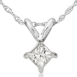 1-2ct-Princess-Cut-Real-Diamond-Solitaire-Pendant-14k-White-Gold-New