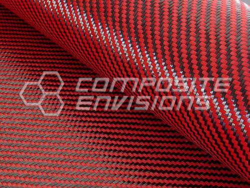 Fibra De Carbono/hecho con Kevlar (Rojo) Paño Tejido 2x2 Sarga 50 3k 5.5oz