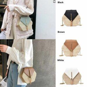 Straw-Bags-Rattan-Woven-Shoulder-Bag-Women-Summer-Beach-Handbag-Crossbody-New-PU
