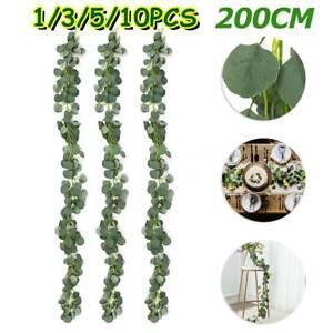 2M Artificial Eucalyptus Garland Long Silver Dollar Leaf Plants Wedding Decor