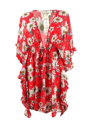 Jessica Simpson Women/'s Printed Ruffle-Sleeve Dress Swim Cover-Up