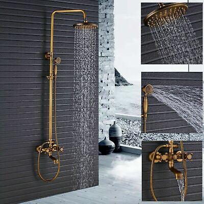ROZIN Wall Mounted Bathroom Shower Set Faucet Antique Brass Shower Mixer Tap w// Handheld Shower