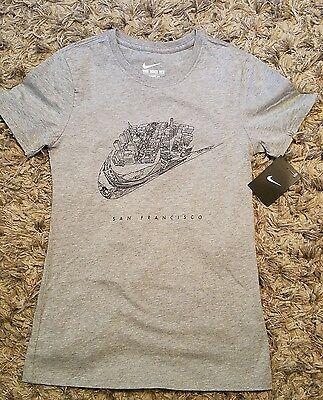 ce4ba5d4 Nike Futura Women's San Francisco City T-Shirt XS Gray Gym Casual Tee New |  eBay