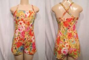 cc4de3a7b36 Vintage 50s Swimsuit PIN UP GABAR Tina Leser Flowers Cotton One ...