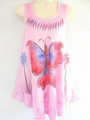 Rayon Embroidery Tunic Top Blouse Free Size Sleeveless Butterfly Hippie Pink