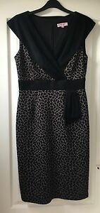 034-Per-Una-034-Women-039-s-Dress-Size-12-Black-Brown-Animal-Print-Great-for-the-office