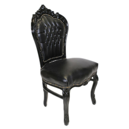 CHAIRS FRANCE BAROQUE STYLE DINING ROYAL CHAIR BLACK / BLACK #60ST5