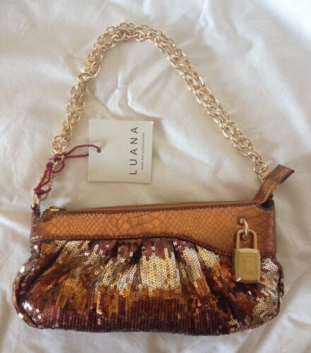 Beaded Woman's Evening Designer Luana Handbag Bnwt Bronze Small Italian SOEwY