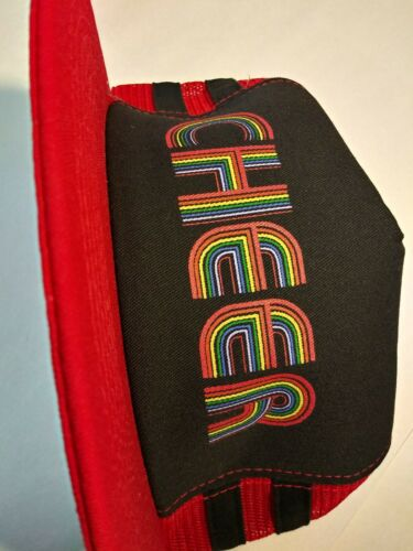 """RED CAP USA UNISEX GAY PRIDE RAINBOW LETTERS /"""" CHEER /"""" ONE SIZE FITS MOST LARGE!"""