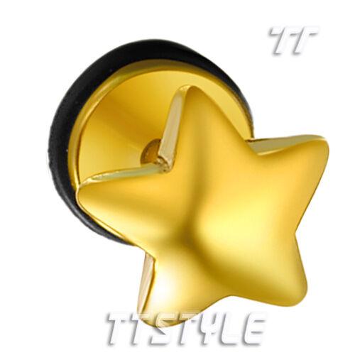 TT Surgical Steel Star Fake Ear Plug Earrings Body Piecing A Pair BE73