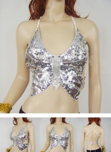 Tribal Belly Dance Costume Top Bra Sequin Beads Bells Party Club Bralet Crop top