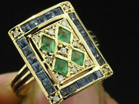 C101 Genuine 9ct Solid Gold Natural Emerald Sapphire & Diamond Ring In Your Size