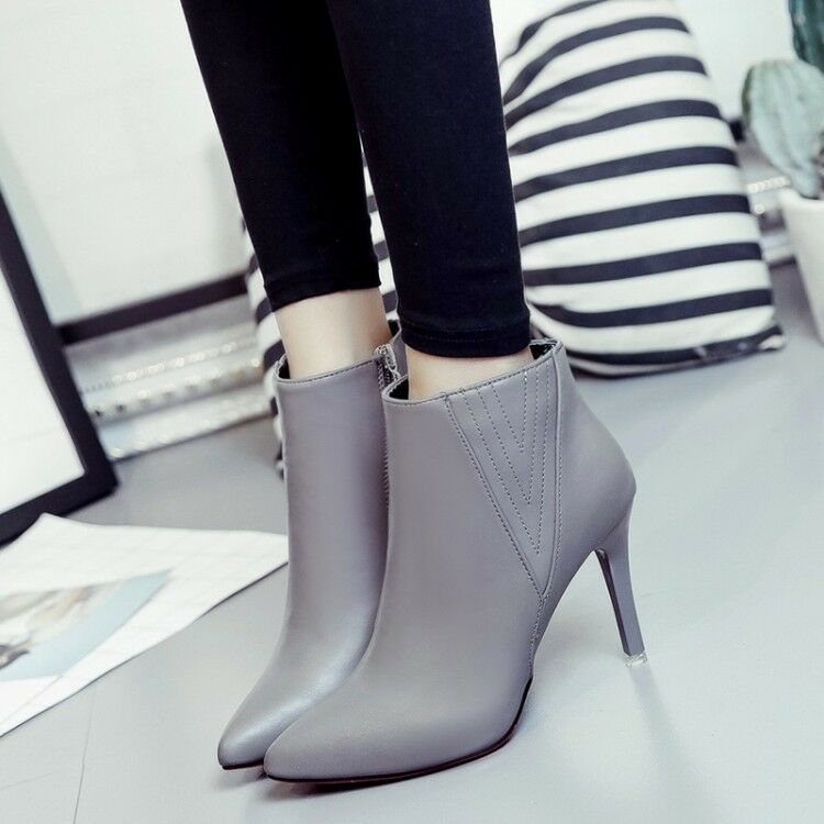 High Stilettos Heels Pointy Toe Ladies Ankle Boots Autumn Casual shoes Size New