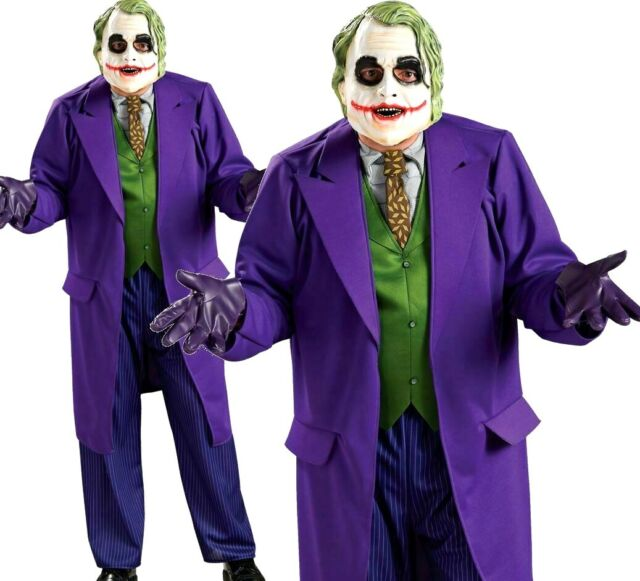 LICENSED DELUXE THE JOKER BATMAN MENS ADULT DARK KNIGHT FANCY HALLOWEEN COSTUME