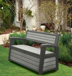 Terrific Details About Keter Hudson Iceni Eden Plastic Garden Storage Bench Box Waterproof Dailytribune Chair Design For Home Dailytribuneorg