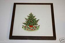 "Nice Vintage Christmas Tree Painted Ceramic Hot Plate Pot 9"" Tile Trivet ITALY"
