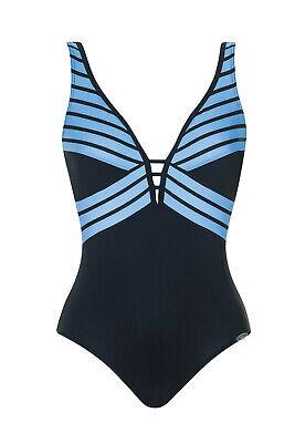 46 B NP 69,99 € Sunflair Badeanzug Einteiler blau-weiß Gr