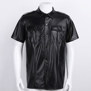 cdc98c08 Image is loading Mens-Faux-Leather-Short-Sleeve-Police-Shirt-Muscle-