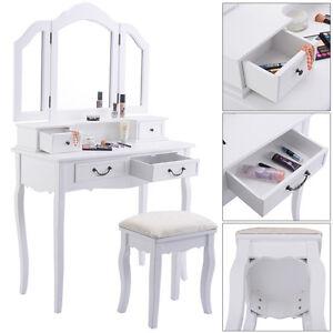 tri folding mirror white wood vanity set makeup table dresser 4 drawers stool ebay. Black Bedroom Furniture Sets. Home Design Ideas