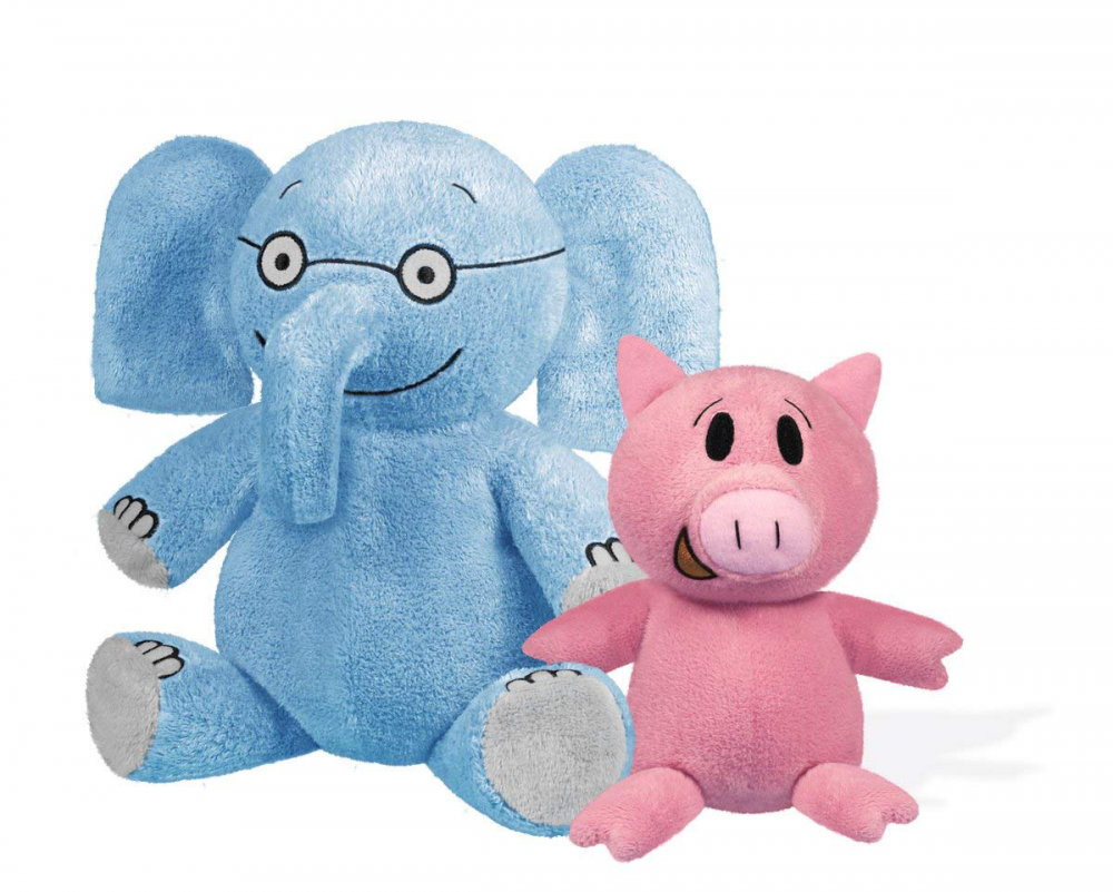 Plush Elephant 7 in and Piggie 5 in Soft Stuffed Toys with Embroiderosso Details
