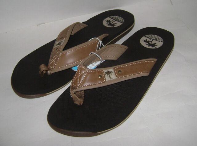 c5926de69c69 Margaritaville Men Leather Flip Flop Flops Slides Shoes Size 11 Tan Brown