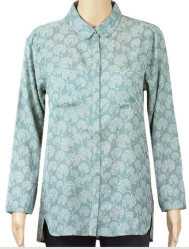 Womens Shirt Blouse Collared Peacock Print NEW Ex White Stuff  Size 8 10 12 14