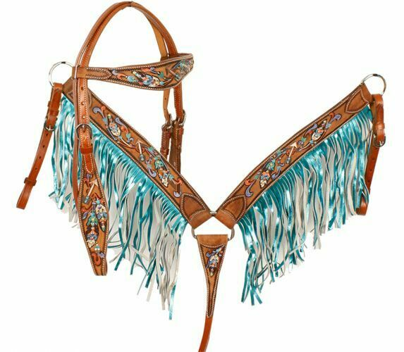 Metallic  Painted Feather & Arrow Headstall & Teal Fringe Breast Collar Set NEW  factory outlets