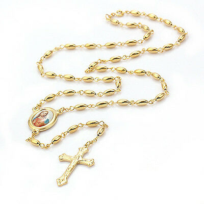 Religious 9K Gold Filled Rosary Pray Bead Blessed Jesus Cross Necklace 14C0375