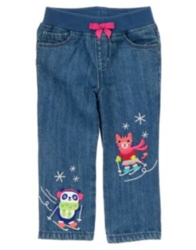 GYMBOREE COLOR HAPPY DENIM RIB WAISTBAND ANIMALS SKIING JEANS PANTS 12 18 24 2T