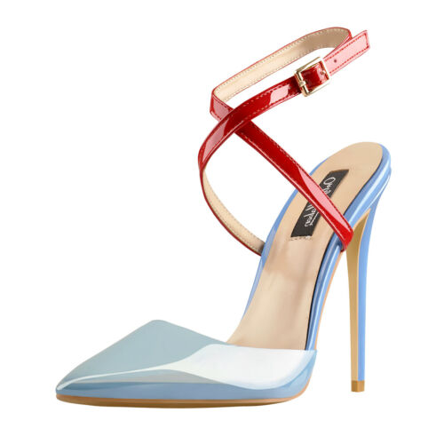 Onlymaker Women Ponited Toe Stilettos Pumps Cross-Tied Slingback Strappy Sandals