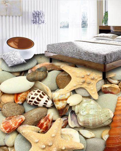 3D Stones Starfish Floor  WallPaper Murals Wall Print Decal 5D AJ WALLPAPER