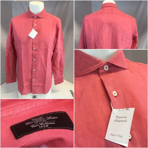Mark Austin Camiceria Shirt 16.5 33 Hot Pink Cotton Made Italy NWT YGI J8-219