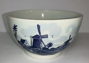 Vintage-Delft-Blue-Hand-Painted-Bowl-Planter-With-Windmill-House-Ship-Holland