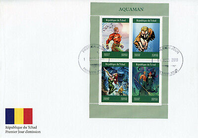 Chad 2019 Fdc Aquaman 4v M/s Cover Dc Comics Superheroes Stamps Pleasant In After-Taste Africa
