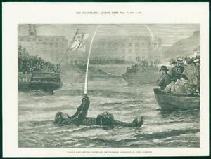 1874-Antique-Print-IRELAND-Cobh-Cork-Harbour-Swimming-Apparatus-Experiment-34