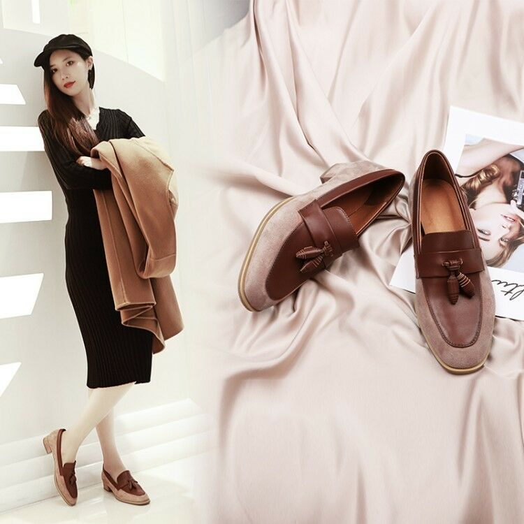 Womens Ladies Fashion Leather Two Tone Tassel Slip On Court shoes Loafers XUNL