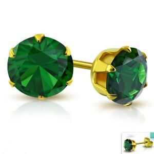 Simulated-Emerald-Stud-Earrings-Yellow-Gold-PVD-Hypoallergenic-Surgical-Steel