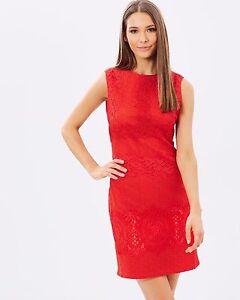 b9271ac9cb70 Detalles de Mujer Karen Millen Lápiz de Encaje Vestido Rojo Bordado Cambio  UK Talla 12 40