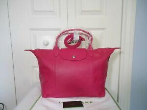 Details about NWT LONGCHAMP $590 Le Pliage Cuir Leather Top Handle Tote  Shoulder Bag, Cyclamen