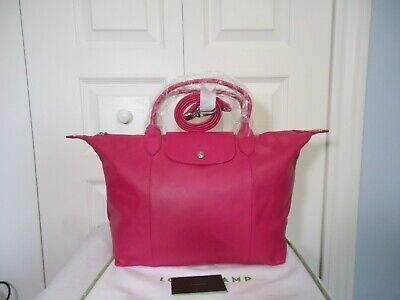 NWT LONGCHAMP $590 Le Pliage Cuir Leather Top Handle Tote Shoulder Bag,  Cyclamen 671194316637 | eBay