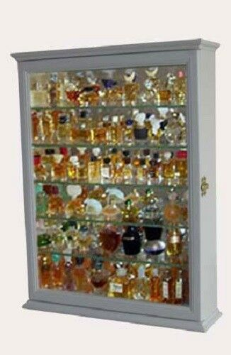 Wall Mounted Curio Cabinet Display Case Stand Cupboard Glass Door Storage Mirror